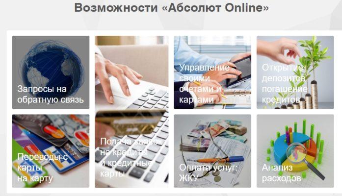Возможности личного кабинета интернет-банка Абсолют